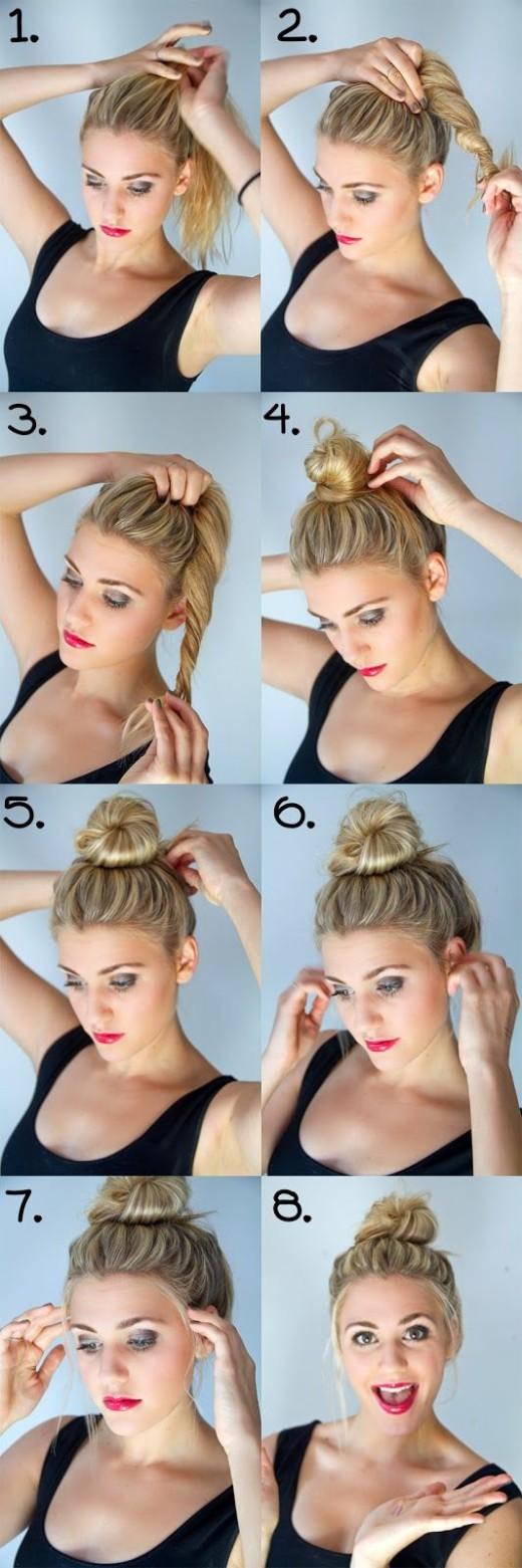 DIY top-knot bun tutorial