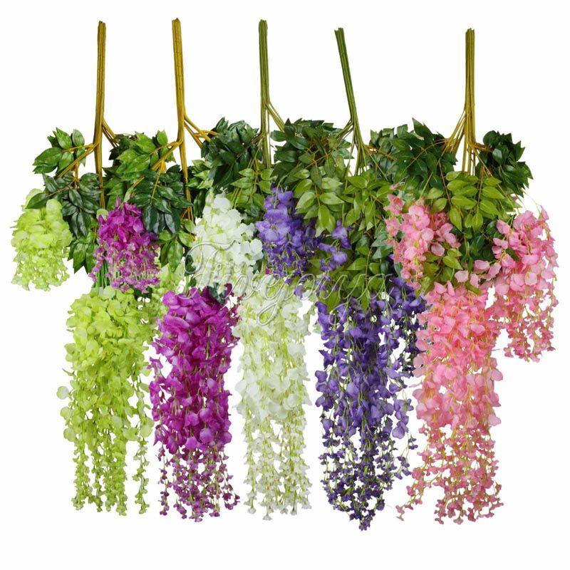 24pcs 105cm Silk Artificial Hanging Flower Silk Wisteria Plants Fake Flower Decorative Flower Wreaths for Wedding Home Decor