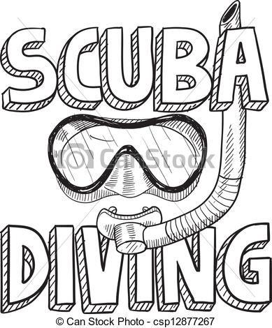 Clip Art Vector Of Scuba Diving Sketch Doodle Style Scuba Diving Illustration Csp12877267 Search Clipart Illust Scuba Diving Quotes Scuba Diving Diving