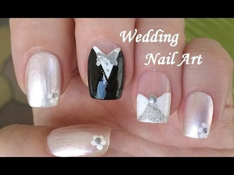 I love this cute bride and groom nail art diy this nail design i love this cute bride and groom nail art diy this nail design has delicate prinsesfo Gallery