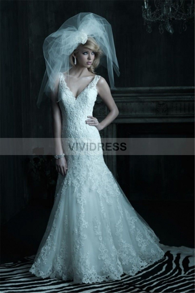Fancy A-line None V-neck Sleeveless Chapel Train Lace Lace Wedding Dresses UK