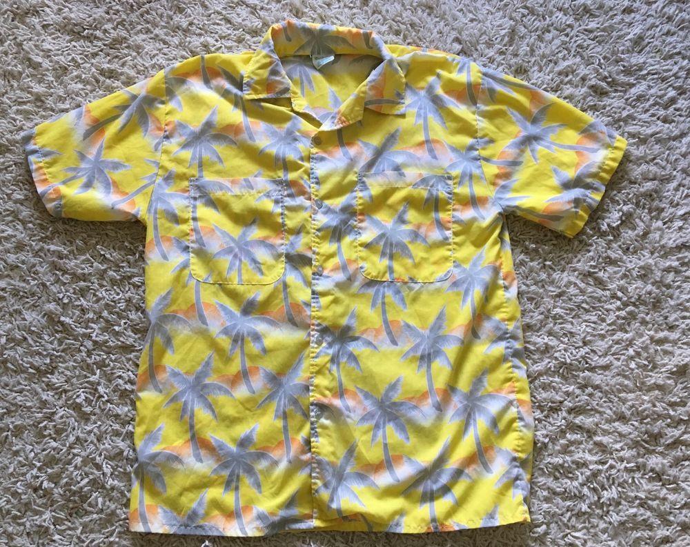 d0e66af6 Vintage 70s Mens Tropicana Yellow Palm Tree Hawaiian Short Sleeve Shirt  Large #Tropicana #Hawaiian