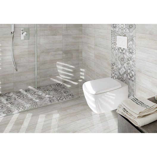 SDB / WC   SAS on the ground floor tiled floor and ivory white wall 1 effect ural wood l20xl60 ...