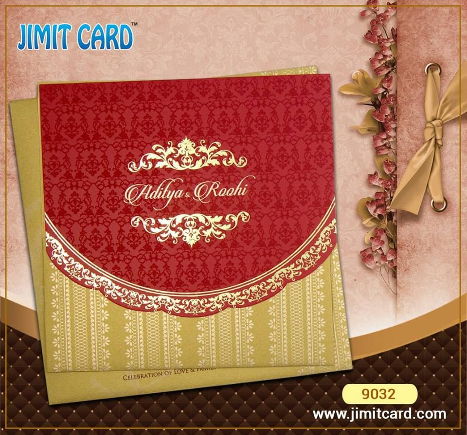 A Red and Gold combination trifold #Weddingcard which open upwards ...