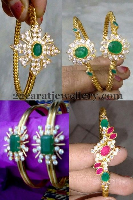 Light Weight Emerald Bangles Gold Bangles Jewelry