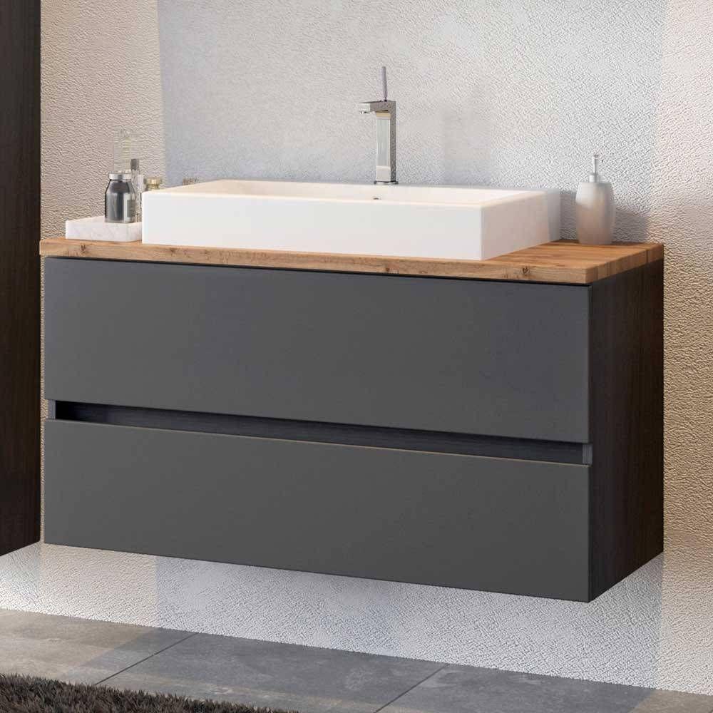 Schubladen Waschtisch Laliano In Dunkelgrau Und Wildeiche Optik 100 Cm Breit In 2020 Badezimmer Unterschrank Waschtisch Waschtisch 100 Cm