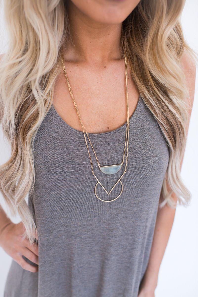 Geometric Stone Necklace - Dottie Couture Boutique