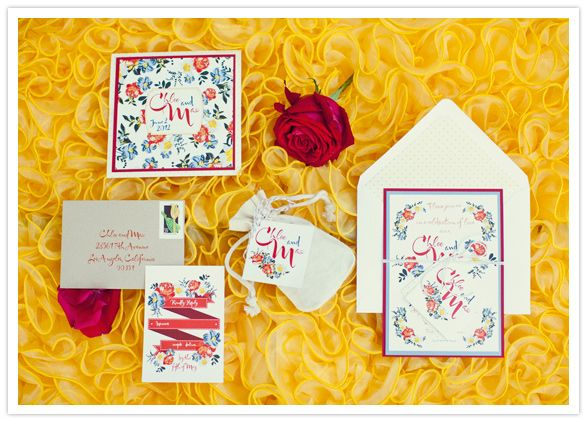 floral motif wedding invitations