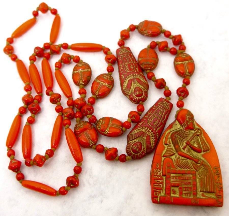 Vintage Czech Neiger Egyptian Rival Scarab Glass Beads Necklace