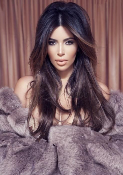 Good New Long Kim Kardashian Hairstyle 100% Indian Hair Lace Wig About 22 Inches  Straight : Wigsbuy.com