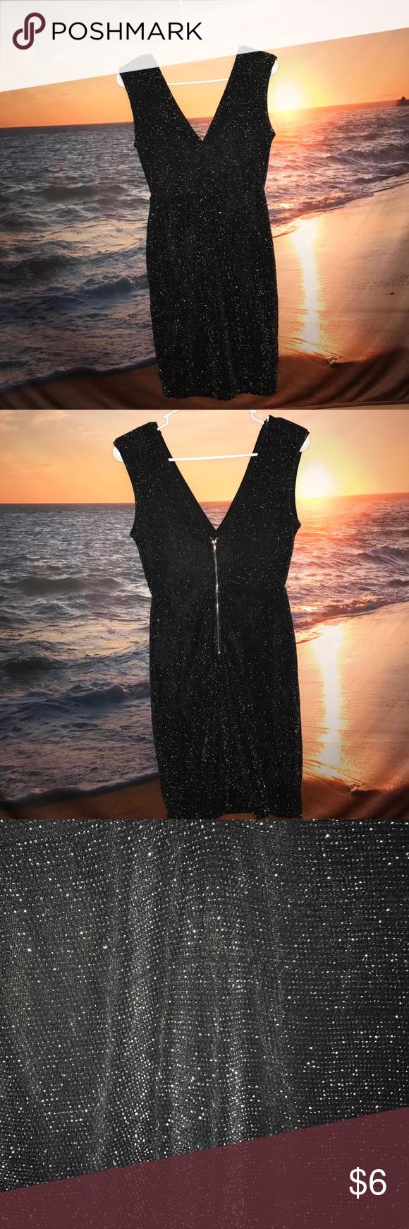 Forever tight v neck sparkly black dress forever tight black v