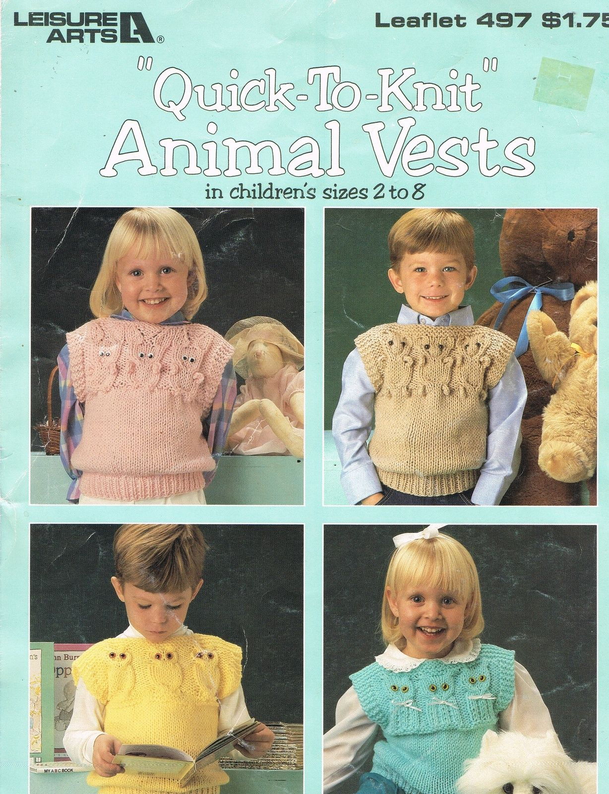 7fb99a540 Leisure Arts Quick To Knit Animal Vests for Children Pattern Book ...