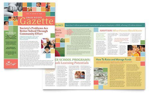 Non Profit Association For Children Newsletter Template Design Newsletter Design Templates Newsletter Templates Word Newsletter Templates