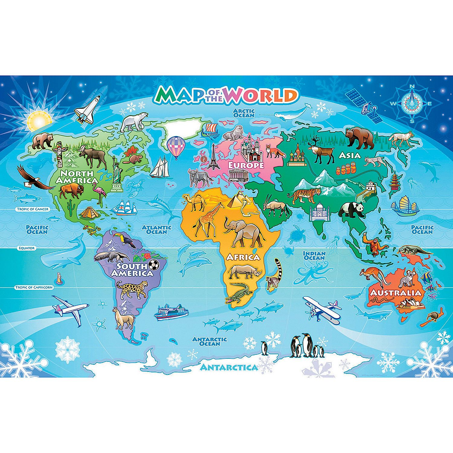 Map of the World Floor Puzzle Mindware Toys
