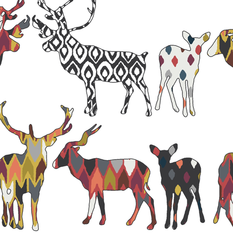 white spice deer large fabric by scrummy on Spoonflower - custom fabric