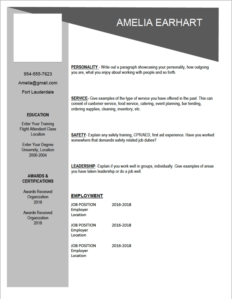 Downloadable Flight attendant resume template. $12 for the .docx ...