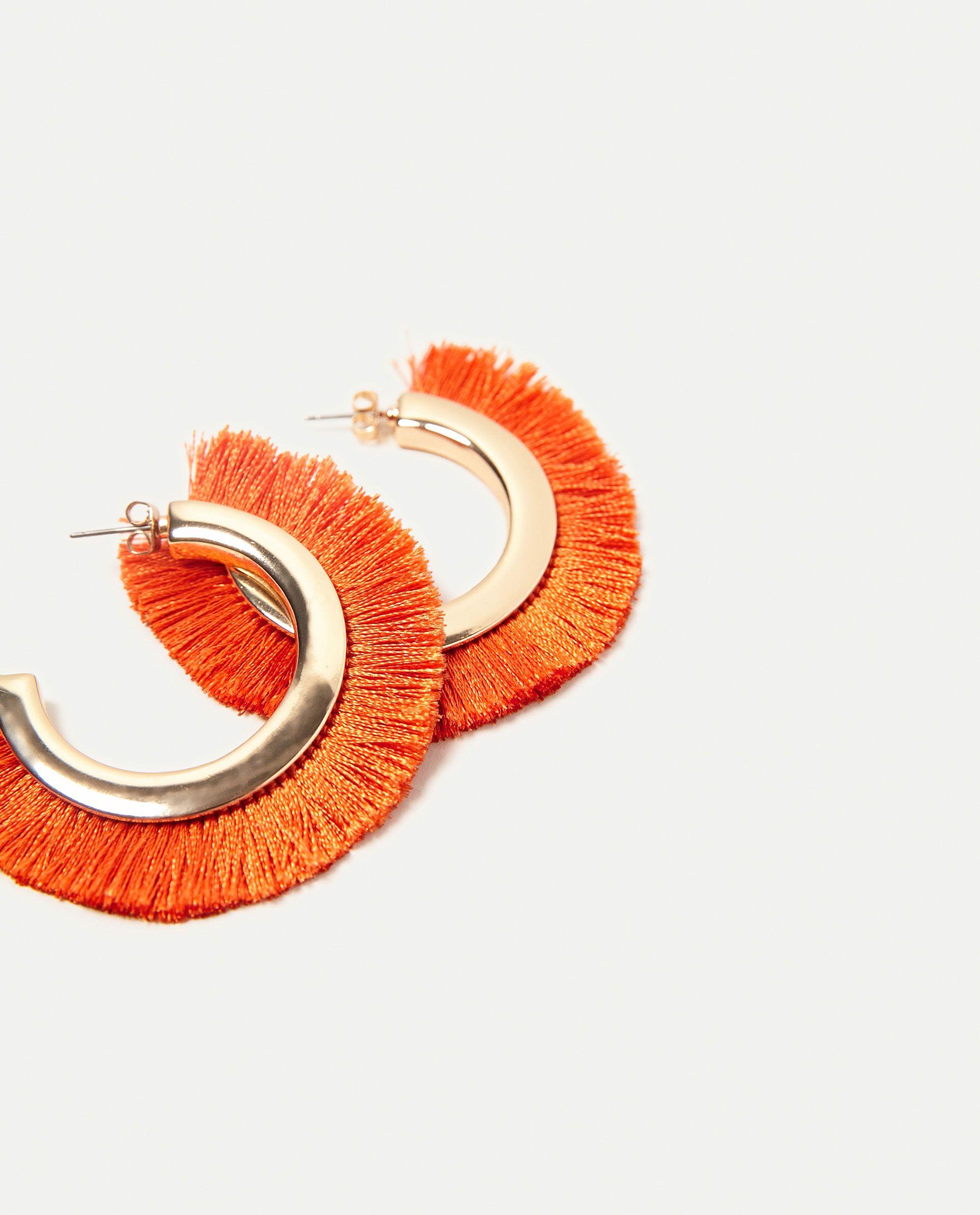 fringed hoop earrings details 1,290 rsd color: orange 1856/055