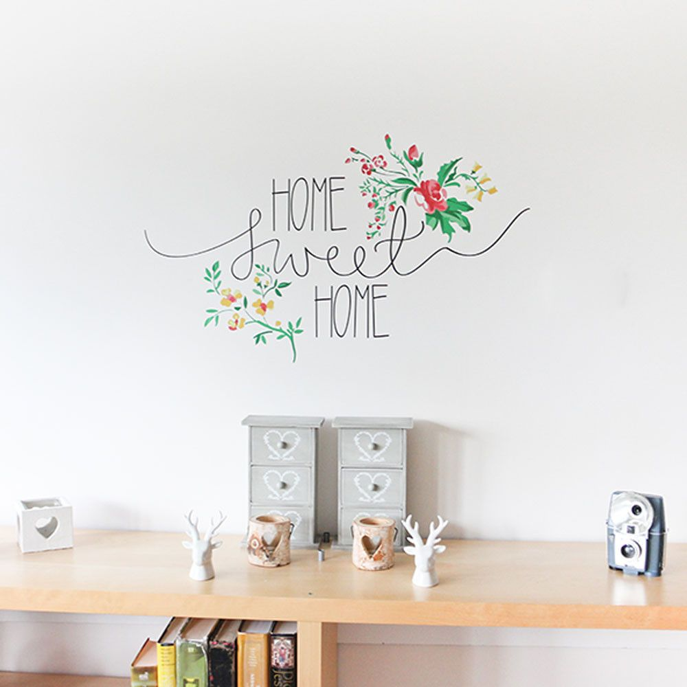 Floral Home Sweet Home Vinyl Wall Sticker