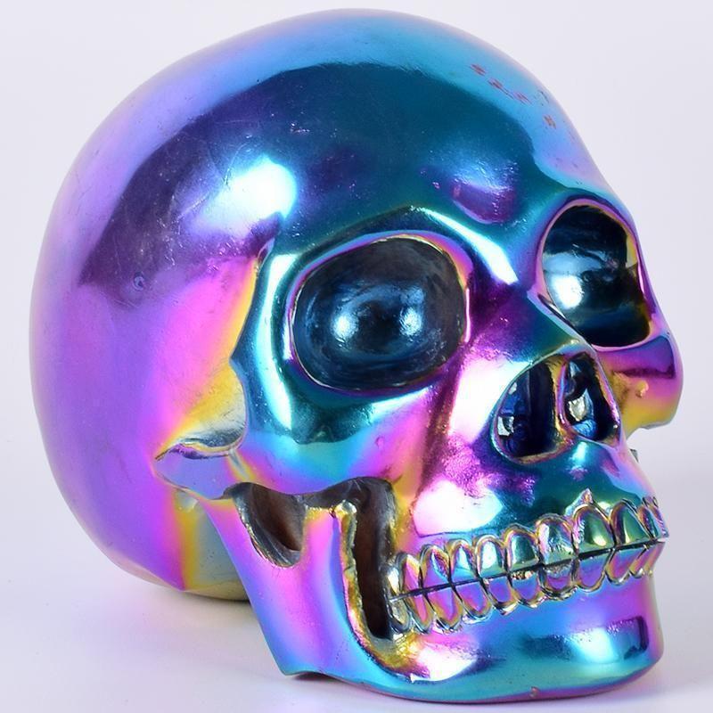 Electroplate Rainbow Crystal Skull Craneo Calavera De Cristal Calaveras
