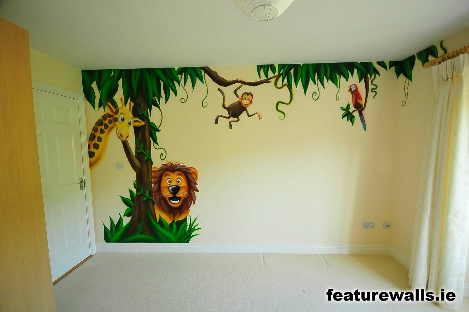 mural for kids room monkey childrens jungle murals. Black Bedroom Furniture Sets. Home Design Ideas
