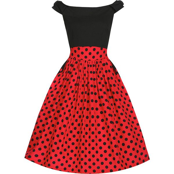 Carla Black Red Polka 6 ($44) ❤ liked on Polyvore featuring dresses, skater skirt, red strappy dress, red skater skirt, strappy dress and bow skater skirt