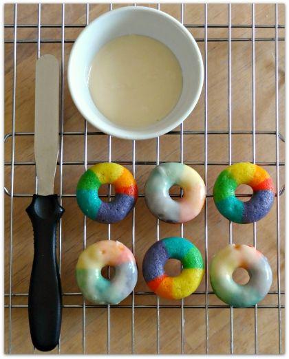mini rainbow vanilla bean donuts