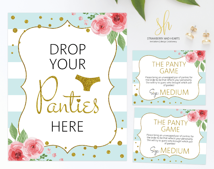 Get the party started with fun 'Drop your panties' game! This game is the perfect ice breaker for any bridal shower or bachelorette party. #printable #bridalshower #bridalshowergames #bridalgames #bridalshowerstationery #bridalstationery #bachelorette #bachelorettegames #bachelorettepartygames #SHdesigns