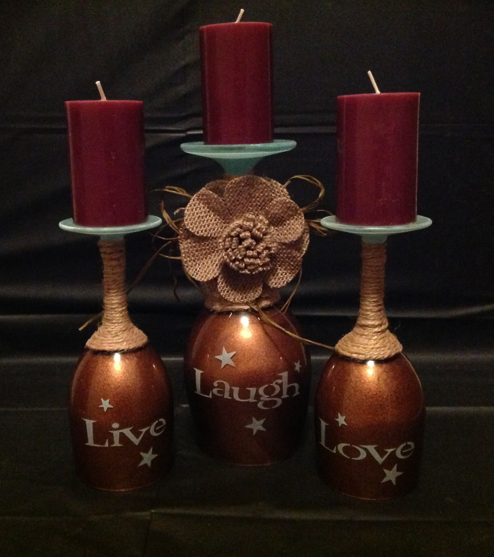 Wine glass candle holder i sandblasted the live laugh love for Used candle holders