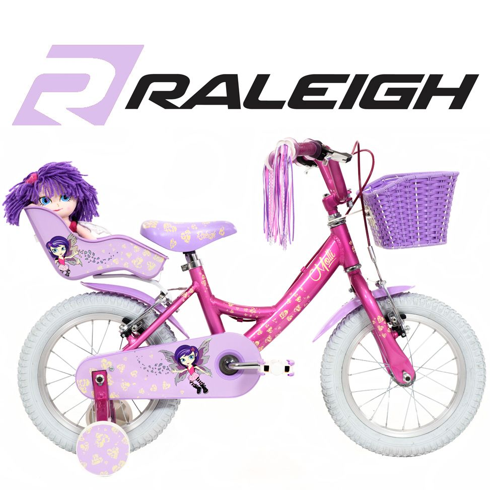 14 inch Girls Bike with Stabilisers and Dolly Seat Pink