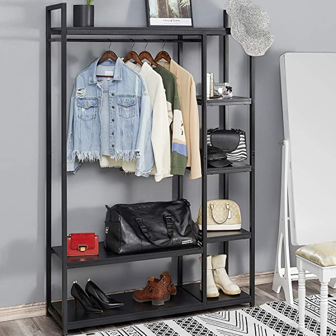 Amazon Com Kealive Freestanding Closet Organizer Heavy Duty Metal Closet Large Storage Clothing Rack With She In 2020 Free Standing Closet Wood Wardrobe Garment Racks