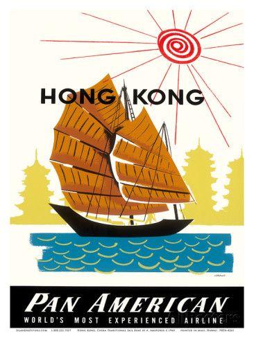 Hong Kong, China Pan Am American Traditional Sail Boat and Temples Art Print