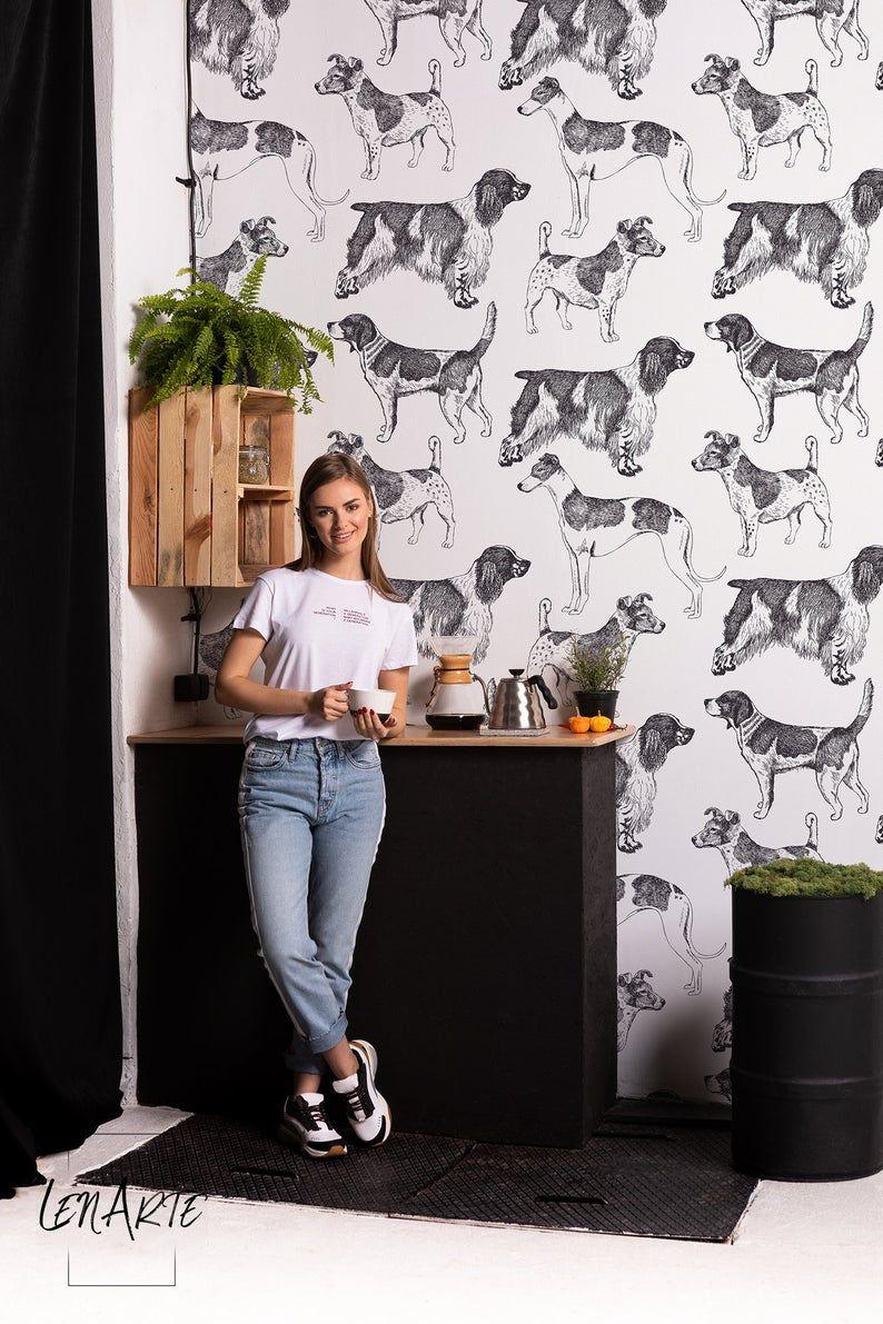 Vintage Dogs Wallpaper Black And White Romantic Pattern Etsy In 2020 Dog Wallpaper Wallpaper Walls Decor Vintage Dog