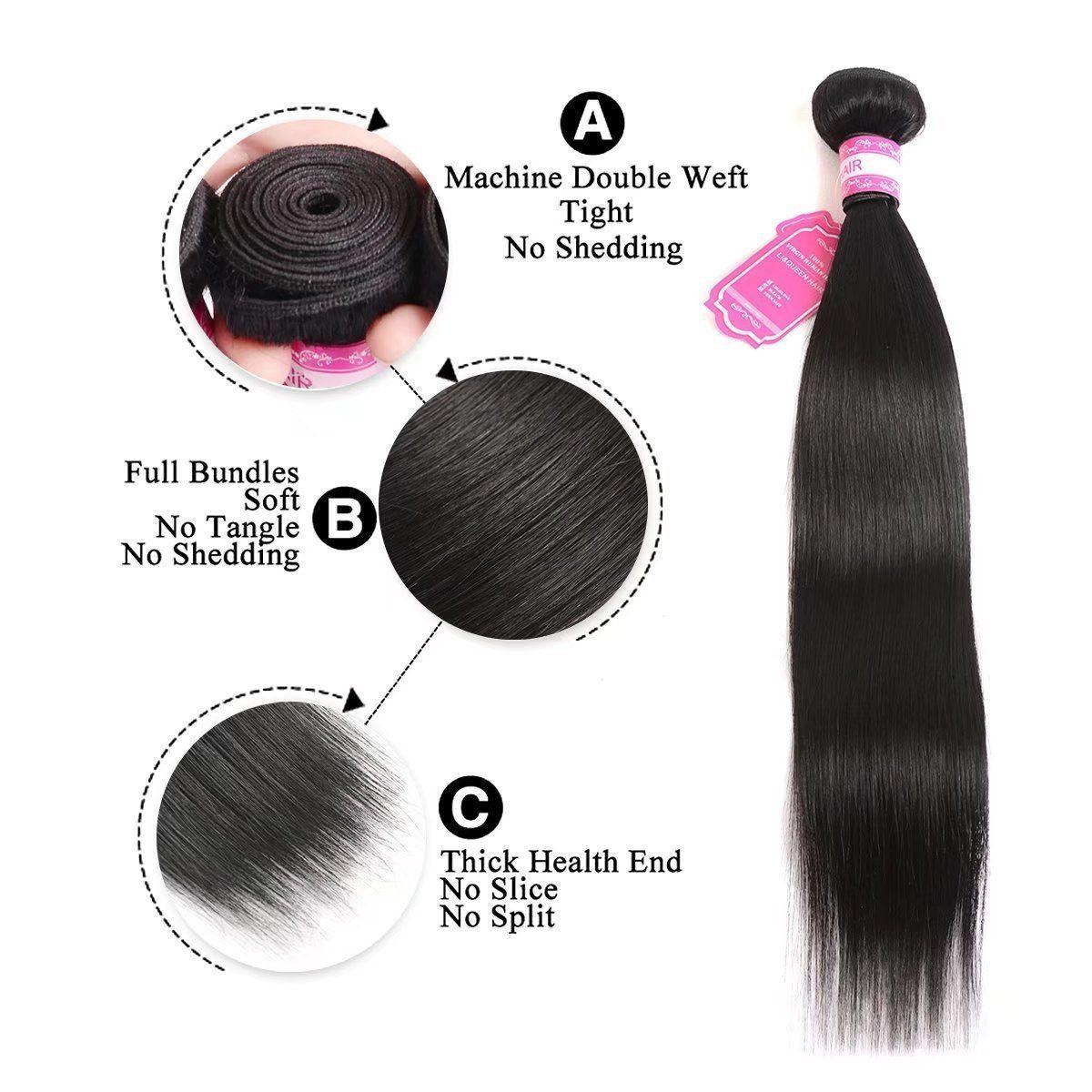 Li Queen 7a Brazilian Virgin Hair Straight Hair Bundles Mix Length 8