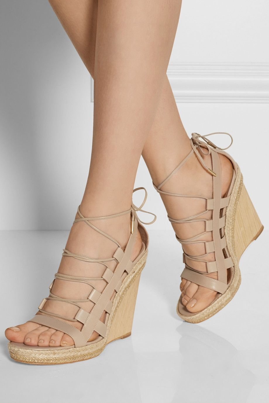 719d360c575 Aquazzura wedges. These give a gladiator effect without covering up the foot.  Great to wear with spring skirts and dresses.