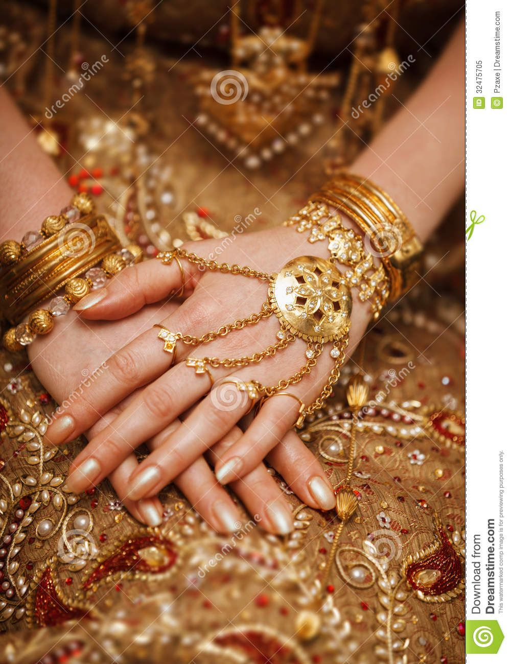 Hands Of A Bride In A Traditional Wedding Jewelry. Sri