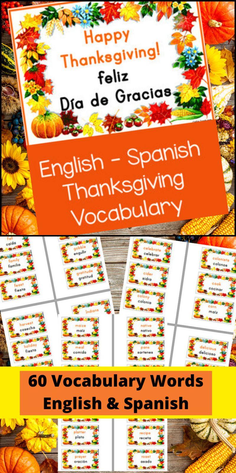 This EnglishSpanish Thanksgiving Vocabulary resource