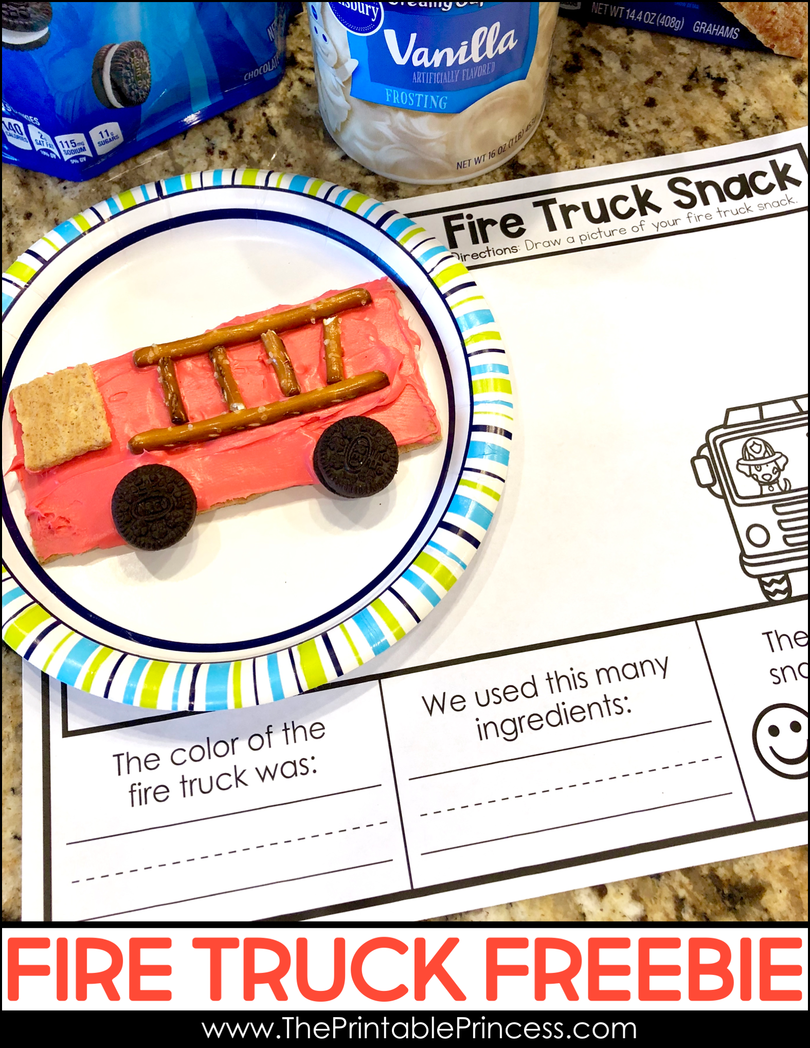 Fire Safety Week Snack and Freebie Fire safety week