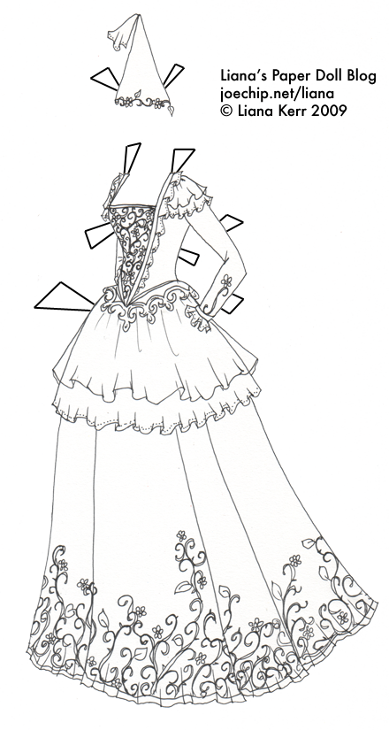 Black And White Princess Gown For Coloring Liana S Paper Dolls Paper Dolls Clothing Paper Dolls Paper Dolls Printable