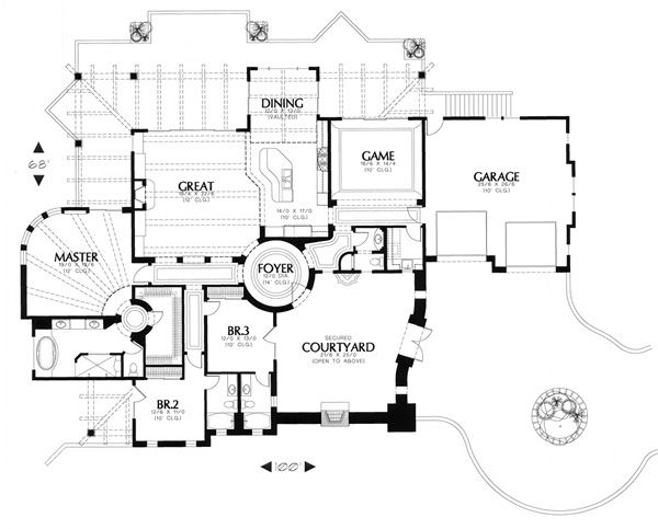 Floor Plan Image Of Featured House Plan Pbh 1244 House Plans Mediterranean House Plans Floor Plans
