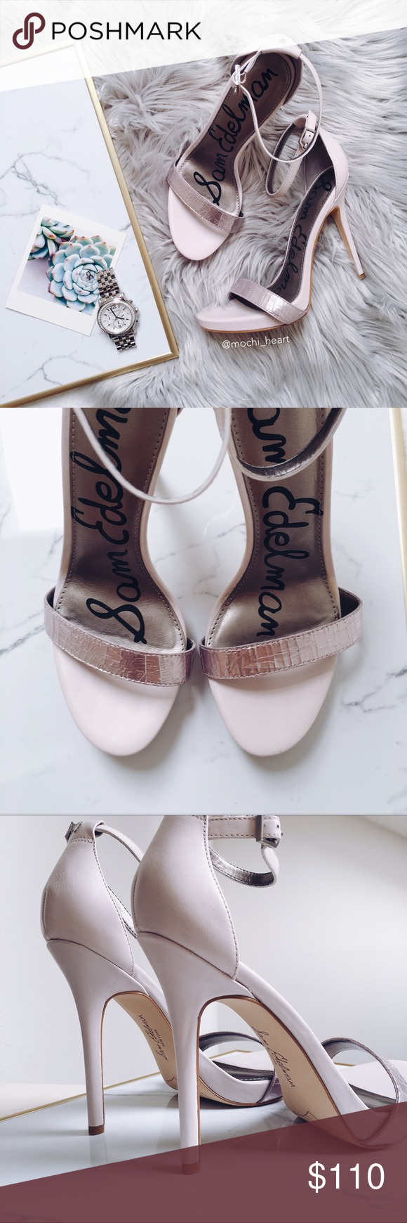 9f0fa6cccd19 Sam Edelman  Eleanor  pink powder leather sandal Chic sandals by Sam Edelman  in a pale pink and silver combo. Features 4 1 2