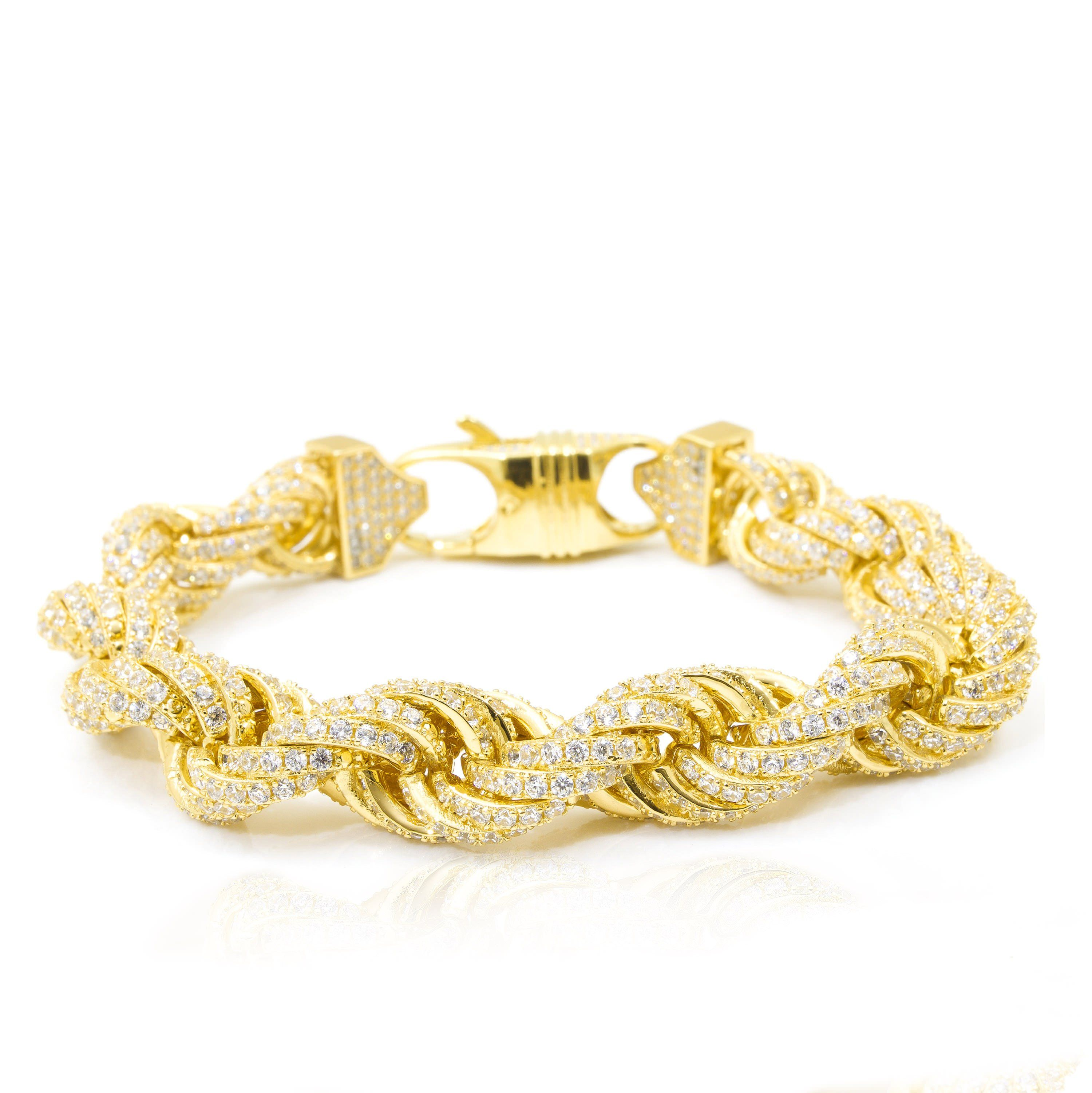 22227f5a81a20 Iced Out Rope Bracelet 11mm in 2019   tone   Bracelets, Jewelry ...