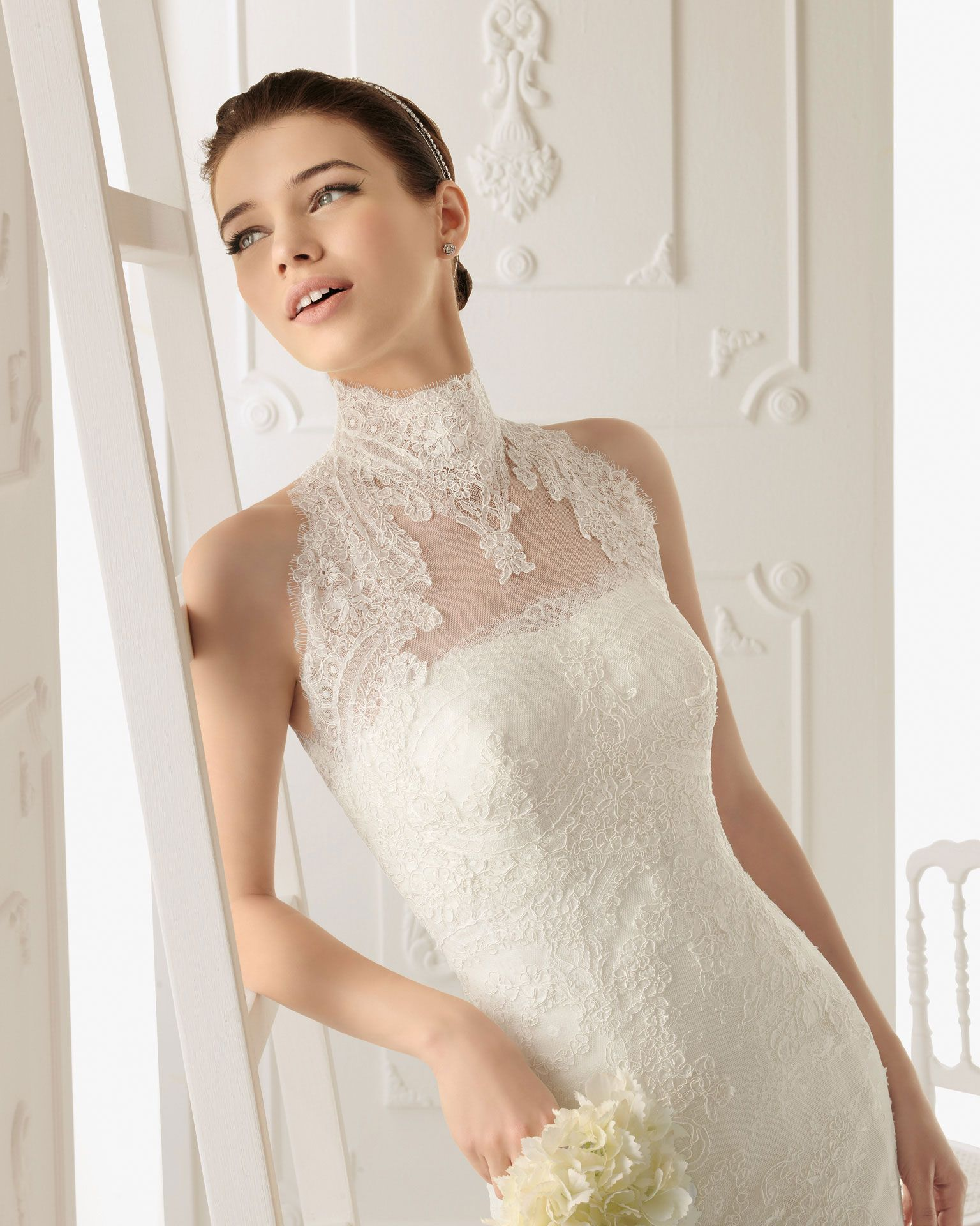 Sheer top wedding dress  Rosa Clara  a lace top layered over your dress  for the perfect