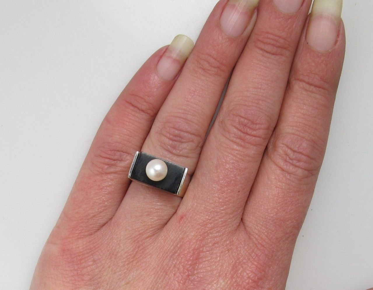 Vintage modern handmade pearl wood inlay 14k white gold ring ...