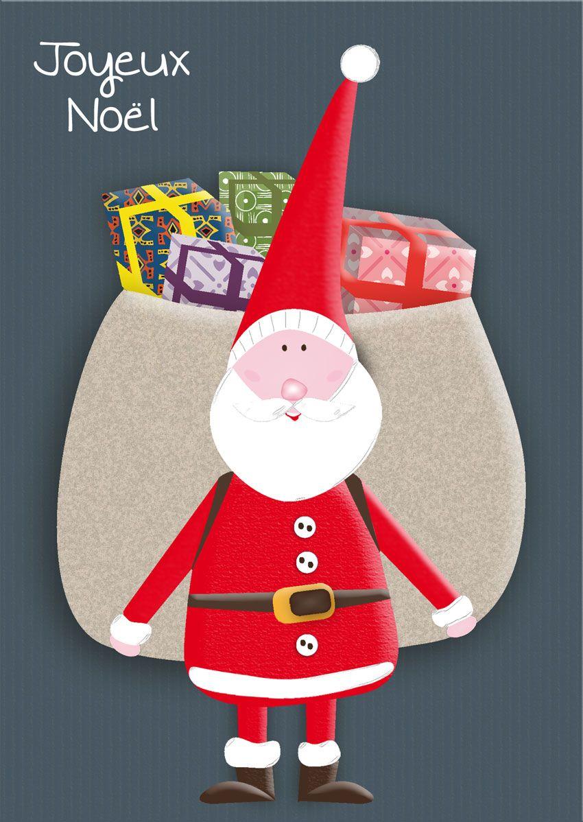 Carte postale personnalisée Joyeux Noël avec le père Noël