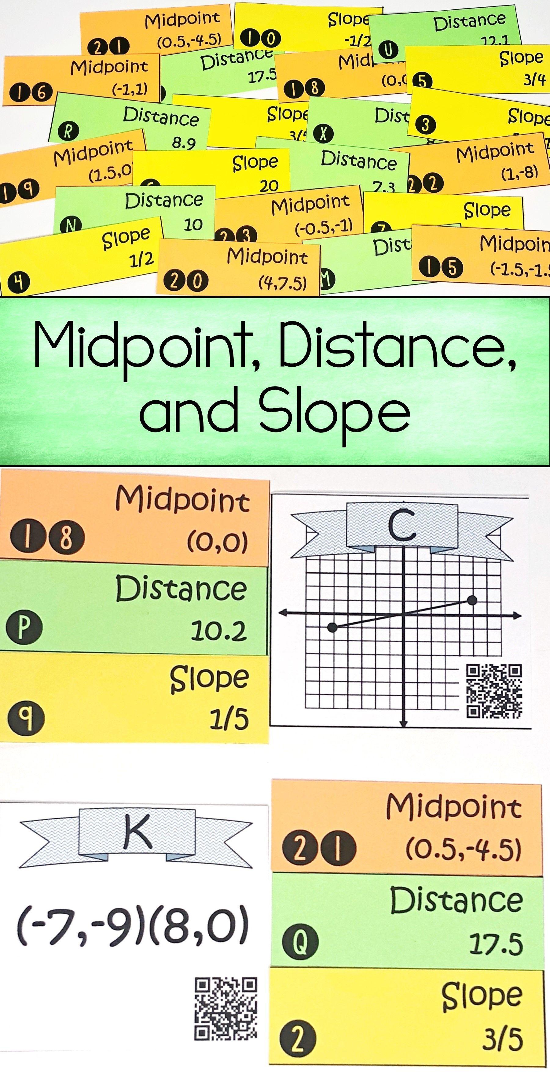 Midpoint Formula Distance Formula And Slope Formula Activity