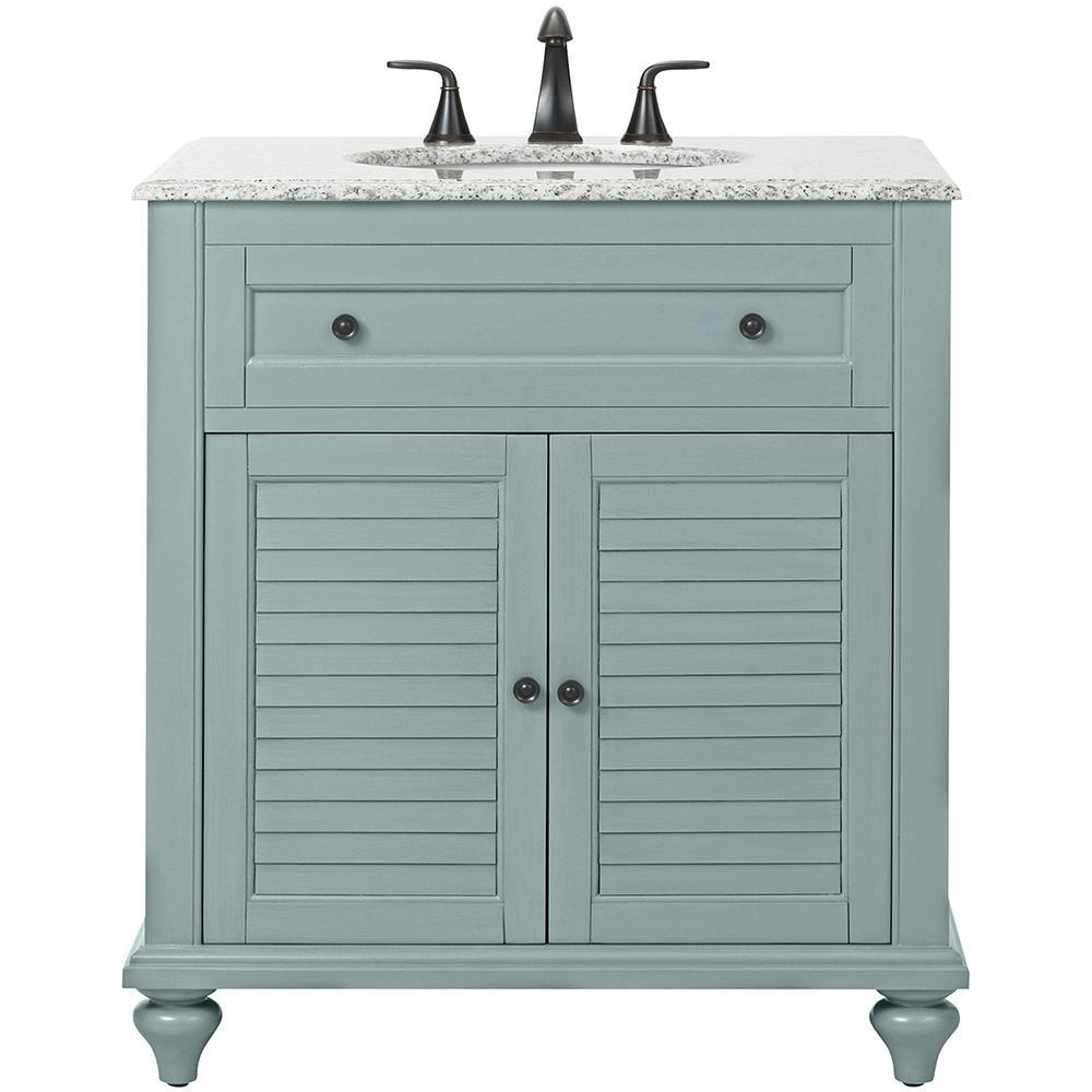 Hamilton Shutter 31 In W X 22 In D Bath Vanity In Sea Glass With Granite Vanity Top In Grey With White In 2020 Granite Vanity Tops Bathroom Vanity Tops Bath Vanities