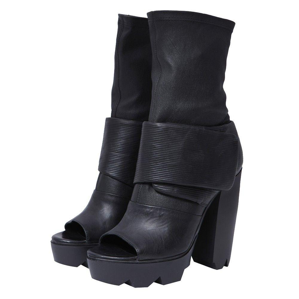 VIC MATIE - Black Open Toe Booties