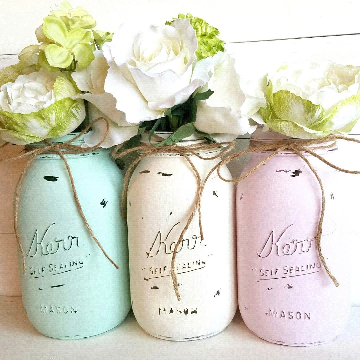Painted Mason Jars. Set of Three. Aqua, Light Pink and Ivory. Mason ...