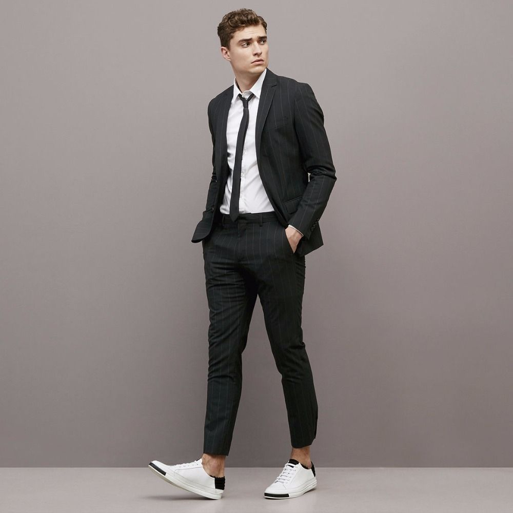 Latest Coat Pant Designs Black Casual Stripe Custom Summer Wedding