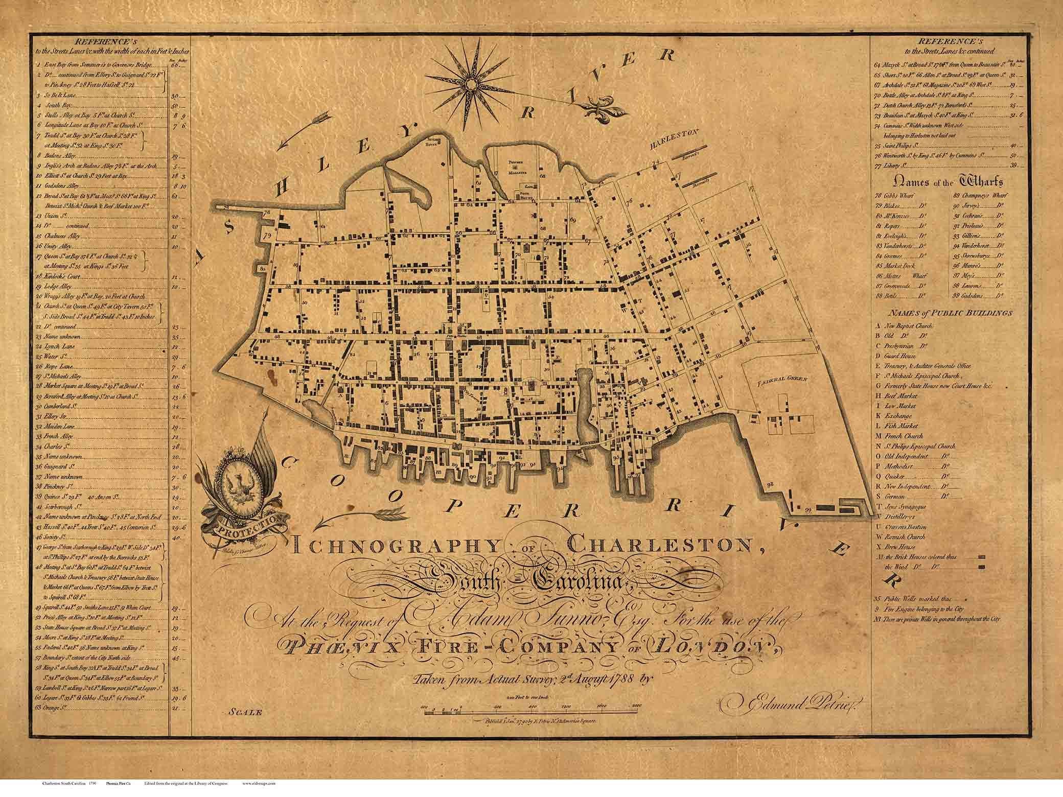 Charleston 1790 South Carolina Old Map Reprint